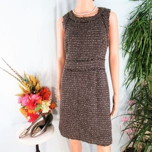 MMK Cocoa Brown Tweed Frayed Sheath Dress